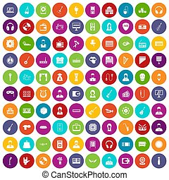 100 music icons set color - 100 music icons set in different...