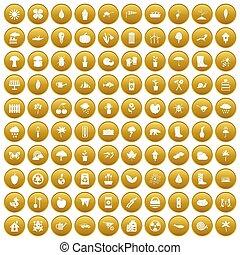 100 garden stuff icons set gold - 100 garden stuff icons set...