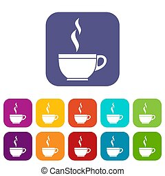 Glass cup of tea icons set illustration in flat style in...
