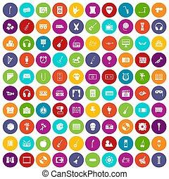 conjunto, iconos, color, 100, educación, musical