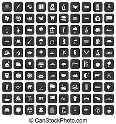 100 lotus icons set black - 100 lotus icons set in black...