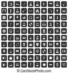 100 music icons set black - 100 music icons set in black...