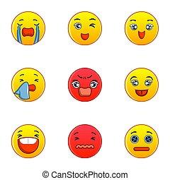 Emoticon icons set, flat style - Emoticon icons set. Flat...