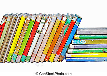 Old Children's Books - A row of small, colorful children's...