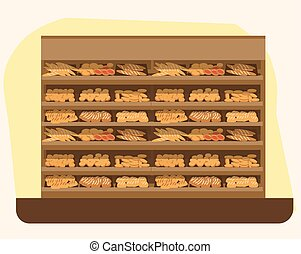 bakery shelf with bread in supermarket, big choice of fresh...
