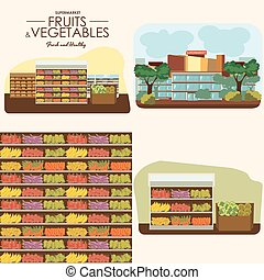 fruit and vegetables shelf with fresh healthy food in...