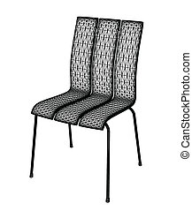 Isolated chair. Vector - Isolated wire chair on white...