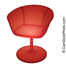 Isolated red chair. Vector - Isolated wire chair on white...