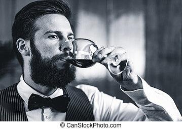 Sommelier tasting wine - Sommelier tasting red wine