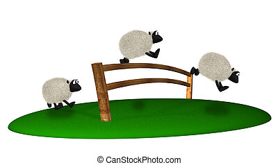 3d sheep jumping over fence. Counting sheeps