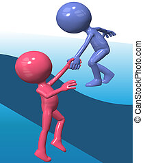 Blue helper person lift 3D friend climb up - Person gives a...