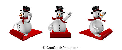 three snowman in sled in white