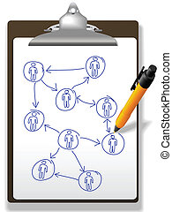 Business people plan network diagram clipboard pen