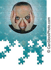 Futuristic Oracle Puzzle with Missing Pieces - Woman's face...
