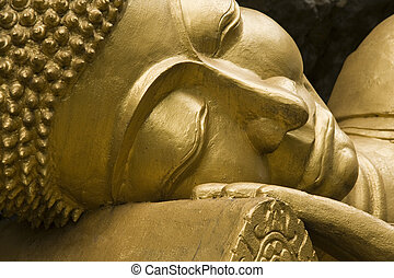Buddha Face - Gold Sleeping Buddha Face,Phou Si Hill, Luang...