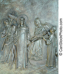 First Station of the Cross - Stone relief depicting when...