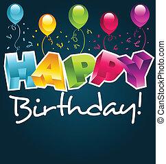 heureux, anniversaire, carte