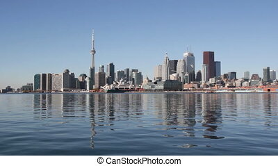 Toronto waterfront. Wide. - View of Toronto from the east....