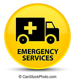 Emergency services special yellow round button - Emergency...