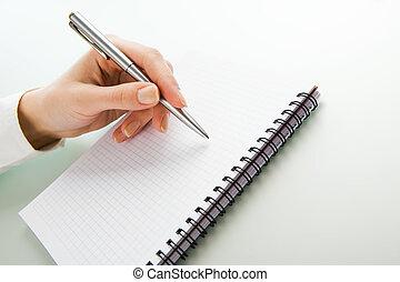escrito, trabalho