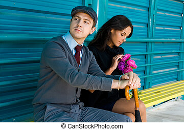 Peaceful couple - Photo of calm man looking aside with his...