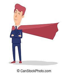 Cartoon successful businesman superhero in suit and cape....