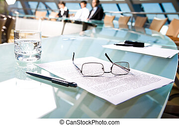 Workplace - Image of several objects lying on the table in...