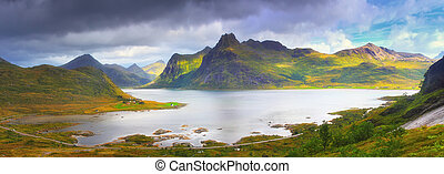 Norway summer scene. Panoramic view at fjord on Lofoten...