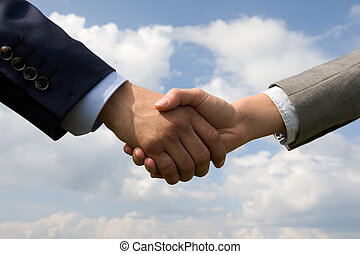 Handshaking - Photo of handshake of business partners on...