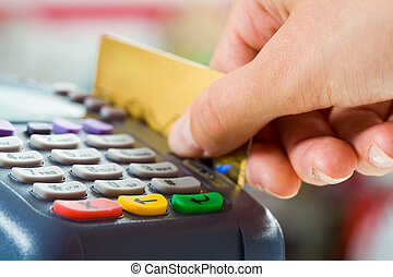 Card payment - Close-up of payment machine buttons with...