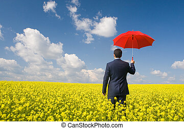 Man with umbrella - Rear view of businessman with red...