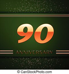 Realistic Ninety Years Anniversary Celebration Logotype....