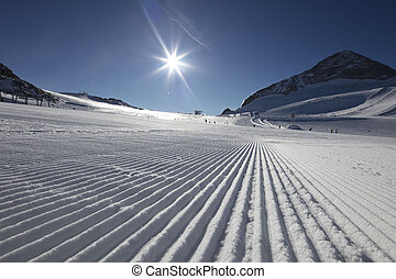 Winter sports. - Alpine skiing. Skiroutes in Alps. View of...