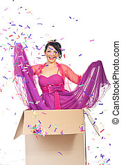 Party surprise - Beautiful laughing woman out of the box and...