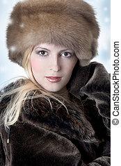 Fashion woman in fur