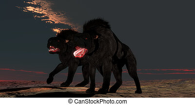 Two Hellhounds - Supernatural creatures of folklore and...