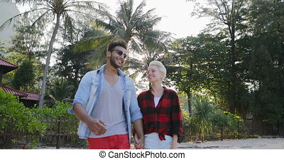 Couple Walking Hold Hands Talking Happy Man And Woman In...