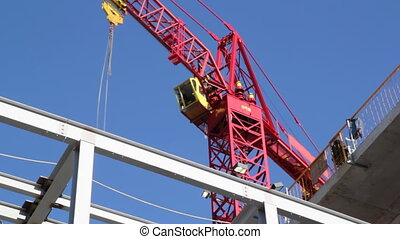 Red crane timelapse. Two shots.