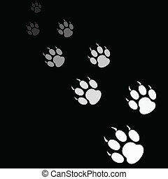tiger paw print on black background