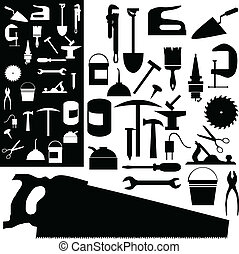 tools mix vector silhouettes