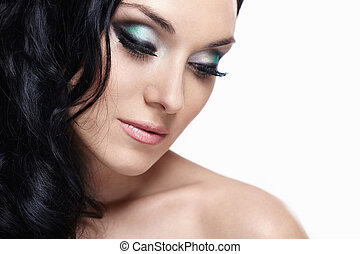 Make-up - Portrait of a young girl with make-up and laying...