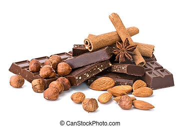 Chocolate with different additives - chocolate, nuts...