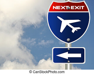 Airplane road sign