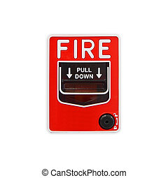 Fire alarm switch box. Pull down to activated the alarm.