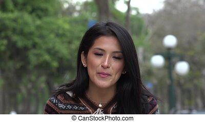 Beautiful Hispanic Peruvian Woman Talking