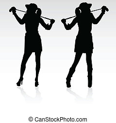 twin sister playing golf vector silhouettes