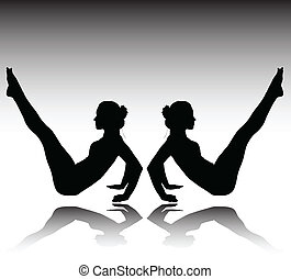 twins girl gym vector silhouettes