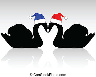 two swans with christmas hat