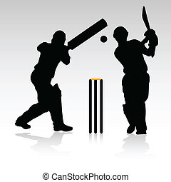 two cricket players vector silhouettes