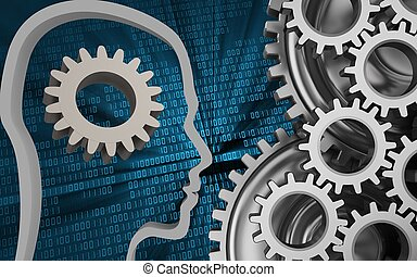 3d mechanic - 3d illustration of gear over binary background...